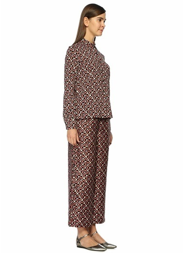 La Doublej Yüksek Bel Desenli Bol Paça Pantolon Pembe